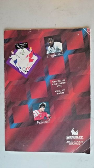 England v Poland..Official Matchday Programme..(8th September 1993)